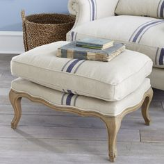 this fabric or similar maybe red stripe for dining chairs... lighten up and works with the other colors int he room