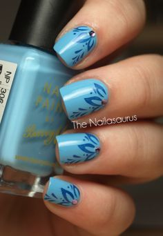 The Nailasaurus - Stamping Plate: Red Angel RA119*  Base Colour: Barry M Blueberry Ice Cream  Stamp Colour: NYC 243B