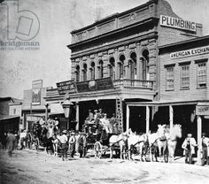 Wells, Fargo & Co.'s Express Office, C Street, Virginia City, Nevada, from 'Gems of California Scenery' published by Lawrence and Houseworth, 1866 (b/w photo)
