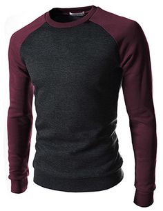 (CAL02-CHARCOALWINE) Slim Fit Vintage 2 Tone Round Neck Napping Long Sleeve  Tshirts f3eb30b8d4d