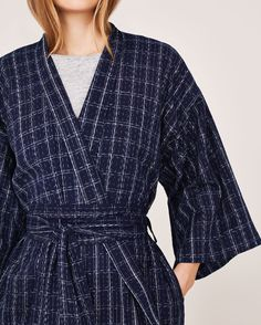 JAPANESE IKAT KIMONO GOWN | Real Ikat, kimono-style gown in soft, light cotton - based upon a traditional Japanese fisherman's check.