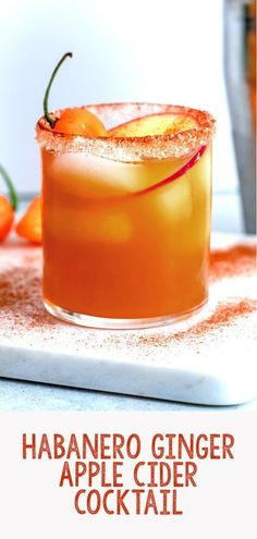 This Habanero Ginger Apple Cider Cocktail is a simple, but delicious fall cocktail consisting of apple cider, rum, & a spicy habanero ginger simple syrup. Winter Cocktails, Craft Cocktails, Party Drinks, Fun Drinks, Sangria, Apple Cider Cocktail, Cocktail Syrups, Ginger Syrup, Cake Mix Cobbler