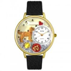 Whimsical Unisex Golden Retriever Black Skin Leather Watch