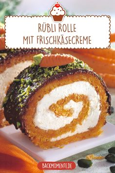 Rübli roll with cream cheese cream- Rübli Rolle mit Frischkäsecreme Delicious carrot cake recipe for Easter Rübli roll with cream cheese cream - Best Cake Recipes, Healthy Dessert Recipes, Desserts, Easter Bunny Cake, Easter Dinner, Evening Meals, Food Blogs, Cake Decorating, Food And Drink