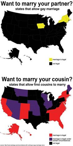 States that allow someone to marry their cousin vs. states that allow gay marriage. Seriously.