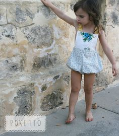 girls blue floral vintage sunsuit. size 612mths by pokettoclothing