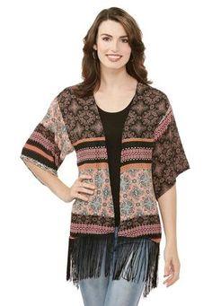 Cato Fashions Lace Inset Fringe Kimono Cardigan-Plus #CatoFashions