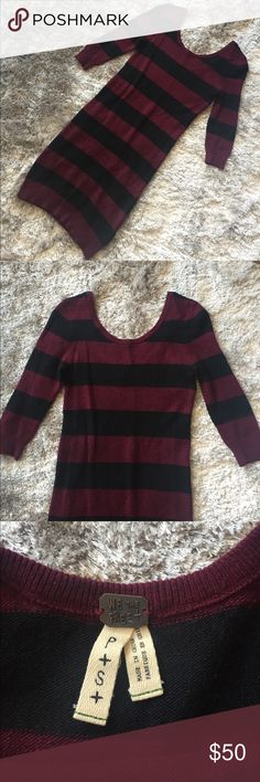 Free People We the Free striped sweater dress Free People We the Free striped sweater dress. Scoop-neck and back dress with ribbed edges and side panels. Elbow-length sleeves. Comfortable stretchy fit. Size P/S. Purchased from Shopbop. Great pre-owned condition. Free People Dresses