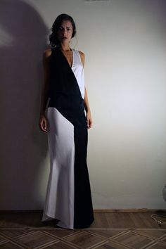1920's Evening Dress, White and Black,  Made to order, Silk