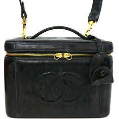 94c9bdc4782e Details about rk878 Auth CHANEL Black Patent Leather CC Cosmetic Mini  Vanity Hand Bag