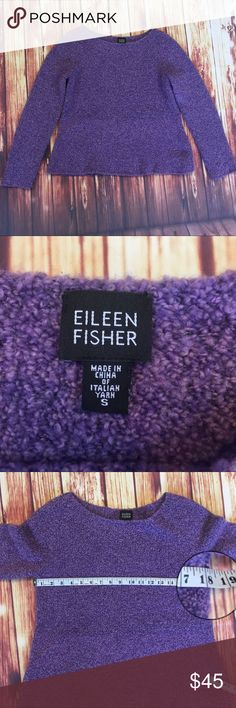 Eileen fisher purple soft Knitted sweater Eileen fisher Sz s purple Boucle Knitted sweater cashmere  Lovely and soft purple sweater Sz Small  See pictures for measurements. Sweater is 5% cashmere Eileen Fisher Tops