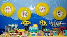 Colorful dessert table at a beach birthday party! See more party ideas at CatchMyParty.com!