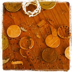 penny pieces from my mom's workspace