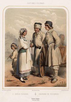 "Folk costumes from Suwałki region, Poland. Drawing by Wojciech Gerson in ""Costumes polonais (…)"", 1855."