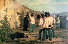 Austrian soldiers executing an Italian anarchist