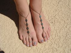 Turquoise Green and Bronze Chain Barefoot Sandals. Foot Thong. Slave Anklet, Ankle Bracelet with Toe Ring