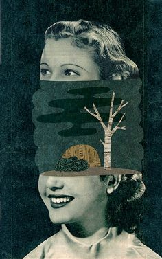 Collage illustration by Mathilde Aubier - creates amazing textured characters.