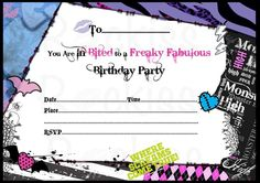 Nice Free Printable Monster High Birthday Invitations Layout Party
