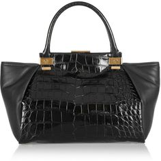 a279af4fd84 Lanvin Trilogy croc-effect leather shopper ($1,743) ❤ liked on Polyvore  featuring bags, handbags, tote bags, purses, lanvin, bolsas, black, leather  handbag ...