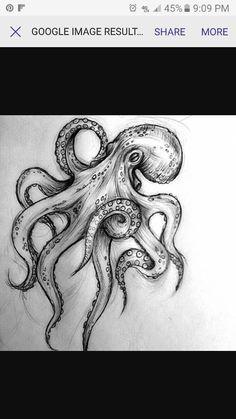 Octopus drawing Tattoos under the sea # tattooing # drawing # .-Desenho de polvo Tattoagem fundo do mar Tattoo octopus tattoo under the sea drawing # papelembranconaofazh … - Octopus Drawing, Octopus Tattoo Design, Octopus Tattoos, Octopus Art, Tattoo Designs, Octopus Sketch, Kraken Tattoo, Sea Tattoo, Ocean Tattoos