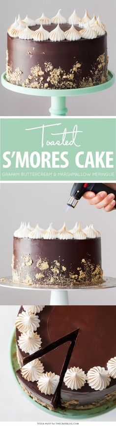 S'mores Cake - s'more inspired layer cake recipe with chocolate cake, graham…