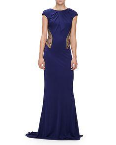 Badgley Mischka Cap-Sleeve Embellished Gown, Sapphire