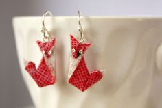 Red Fox Origami Earrings