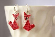 Red Fox Origami Earrings
