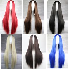 new 30 in / 75 CM 6 Colors cheap wigs long straight hair synthetic wigs Anime cosplay wig Carve Red / Black / Brown / blue wig Alternative Measures