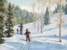 """""""First Tracks"""" 12x16 depicts my two small boys learning to cross country ski. What a great winter we've had!"""