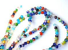 Tiny millefiori 4mm round beads  37 cm 14inch strand  by AnacArt