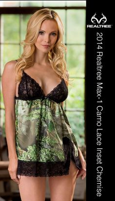 Transform every night into a blissful escape with luxurious Realtree Max-1 Camo lingerie. Boasting camo and lace, this playful collection blends rugged and refined. This side slit chemise features adjustable straps, sheer lace cups, and a rhinestone accent, plus matching thong panties. #Realtreecamo