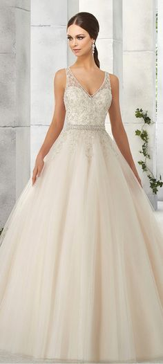 Gorgeous Tulle & Satin V-Neck A-Line Wedding Dresses With Embroidery & Beadings
