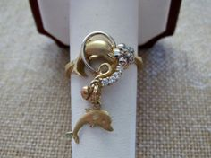 Do you love dolphins! 14k Dangle Ring Dolphin Charm Ring  by EverythingIOwn http://etsy.me/Z1CIqM  @Etsy
