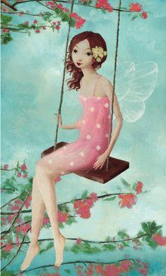 ✯ Pink Fairy on Swing :: Artist Stephen Mackey ✯