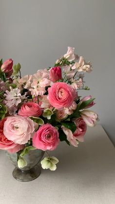 A pedestal vase overflowing with pink florals including roses, tulips, ranunculus and sweet peas from the KD&J Botanica Studio. Artificial Flower Arrangements, Rose Arrangements, Beautiful Flower Arrangements, Beautiful Flowers, Fresh Flower Arrangement, Vintage Flower Arrangements, Artificial Flowers, Pink Garden, Pink Flowers