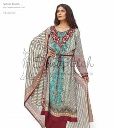 Price: $12 - ST-8870C long-shirt dress is a three-piece suit with maroon, aqua & gray combination printed lawn shirt.