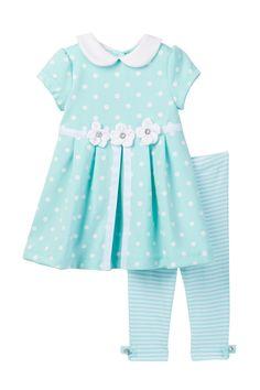 Little Me - Aqua Dot Ponte Dress & Legging 2-Piece Set (Baby Girls) at Nordstrom Rack. Free Shipping on orders over $100.