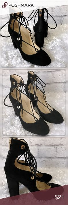 """Marc Fisher 6 M Black Suede Zip Back Lace Up Heels Marc Fisher 6 M Black Suede Zip Back Lace Up Heels. Block 3.5"""" Heel. Gently used with no flaws. Thank you for checking out my listing Stop by Flamingos Closet where something special is waiting for you ❤️ Marc Fisher Shoes Heels"""
