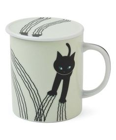 Look what I found on #zulily! White Naughty Cat Porcelain Lidded Mug #zulilyfinds