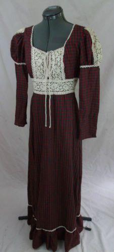 Vintage 70s Gunne Sax by Jessica Rare Black Label Plaid Red Green Maxi Dress M