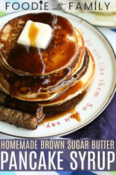 Out of maple or pancake syrup? Never fear! Smooth, thick, and rich, this pantry friendly Brown Sugar Butter Pancake Syrup is simply delicious. Homemade Pancake Syrup, Homemade Pancakes, Pancakes Easy, Pancakes And Waffles, Pancake Syrup Recipes, Homemade Food, Brown Sugar Homemade, Butter Syrup Recipe, Brown Sugar Syrup