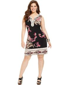 Alfani Plus Size Dress, Sleeveless Printed Embellished - Plus Size Dresses - Plus Sizes - Macy's