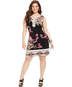 Alfani Plus Size Dress, Sleeveless Printed Embellished - Plus Size Dresses - Plus Sizes - Macy's