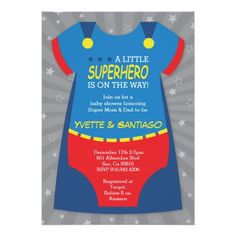 Superhero Baby Shower Invitation, Blue, Red Card