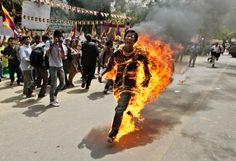 This Tibetan man set himself on Fire at a Protest in New Delhi, India... All I can say is WOW!