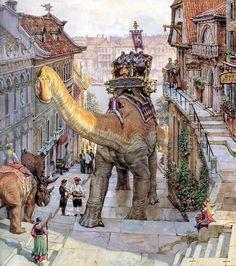 """Cidade dos Dinossauros.  Livro """"Dinotopia, O Mundo Subterrâneo"""" Tags: dinossauros, james gurney, pinturas, fantasia"""