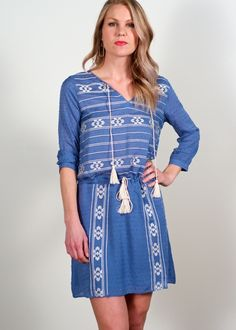 THML Parados embroidered dress; soft blue swiss dot fabric featuring cream embroidered detailing, light weight 3/4th sleeve dress with a split neckline & drawstring cinched waist, flirty feminine dress for Spring/Summer, work to weekend dress, transitional dress to wear almost year round, must have on trend  everyday dress