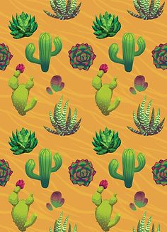 """Cactus Assembly"" by Paula Lucas. Fun pattern with cacti, succulents and general dessert plants. Framed Prints, Canvas Prints, Art Prints, Lucas Arts, Buy Cactus, Fall Wallpaper, Cool Patterns, Cheetah Print, Cacti"