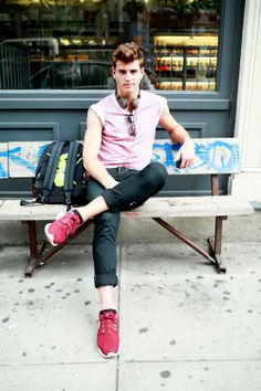 Pink Top, Cuffed Pants and Hot Pink Running Shoes | Men's Fashion